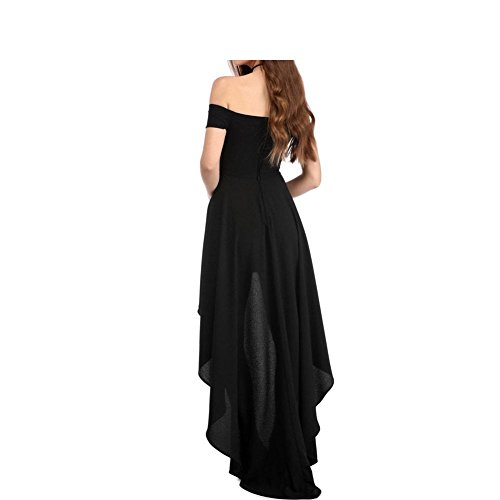 PU&PU Femmes Occasionnels / Sorties / Party Off épaule Asymétrique Swing Dress, manches courtes Black