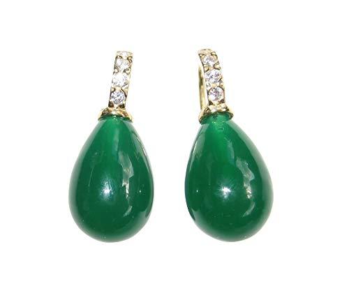 Turmalin-grüne Glas-Ohrringe Ohr-Hänger Tropfen Bügel Sterling-Silber vergoldet mit Zirkonia-Steinen Designer Heide Heinzendorff PRIME