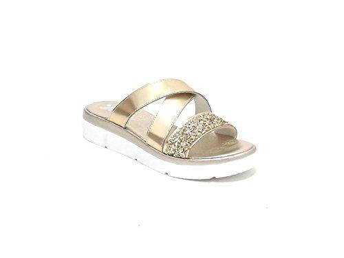 Susimoda scarpa donna, modello pantofola 1539/6, in pelle laminata, colore platino