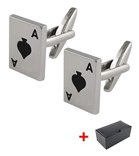 Herren Manschettenknöpfe Spielkarte Pik-As schwarz inkl. Geschenkbox   SILBER   Edelstahl   hochwertig stilvoll Klassiker Poker Pokerkarte Kartenspiel Casino   deutscher Händler   MIND CARE ESSENTIALS -