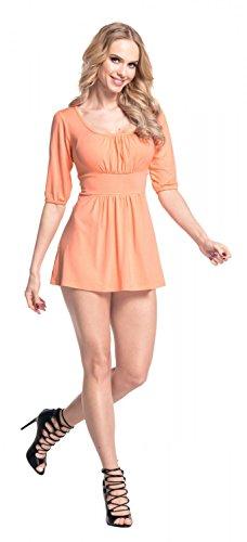 Glamour Empire Femme Coupe flatteuse top Le T-shirt-tunique effet froncé 940 Abricot