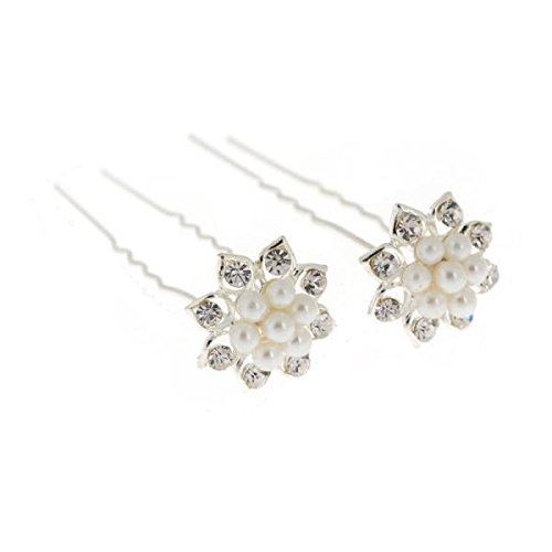 Set Tiara (5er-Set XL Haarnadeln Strass Perlen Blumen Blüten Haarschmuck Hochzeit Braut Kommunion Tiara 5)