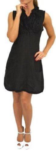 ladies-ruffle-frill-collar-plain-linen-sleeveles-tunic-dress-womens-size10-16-black-12