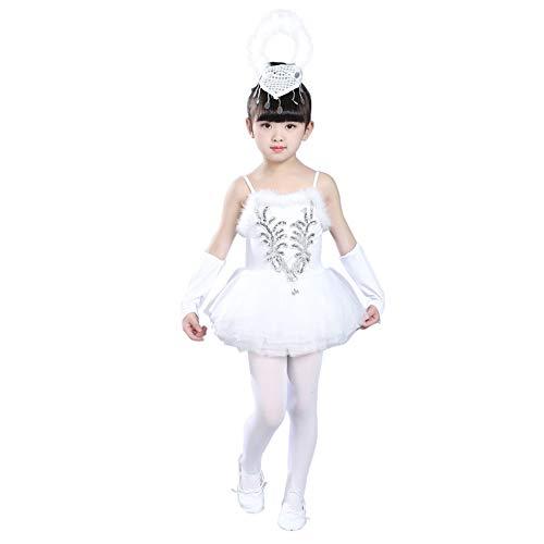 uirend Mädchen Ballett Tanz Trikot Tutu Rock - Glitter Pailletten Perlen Ballerina Tänzer Kleider Ärmellos Wenig Schwan Lust Auf Tanzen Kostüme (Flamme Prinzessin Kostüm)