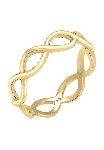 Elli PREMIUM Damen Ring Unendlichkeit 375 Gelbgold Größe: 54 mm 060966221554