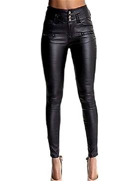 Weimilon Mujeres Leggins Cuero Spring Pantalon De Cintura Alta Otoño Elegante Moda Vintage Slim Fit con Bolsillos...