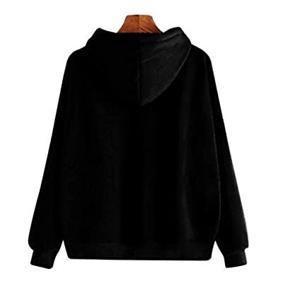 Hunputa Women's Casual Solid Long Sleeve Casual Hooded Sweatshirt Pullover Hooded Top Blouse