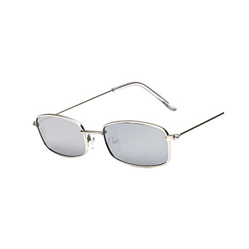 FGRYGF-eyewear2 Sport-Sonnenbrillen, Vintage Sonnenbrillen, Metal Frame Sunglasses Men Retro Small Square Sun Glasses Women Yellow Lens Small Cat Eye Sunglass Female Shades Eyeglass Silver