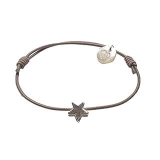 lua accessories - Armband Damen - Elastikband - größenverstellbar - hochwertig versilberter Stern - Mini Star silber (taupe)