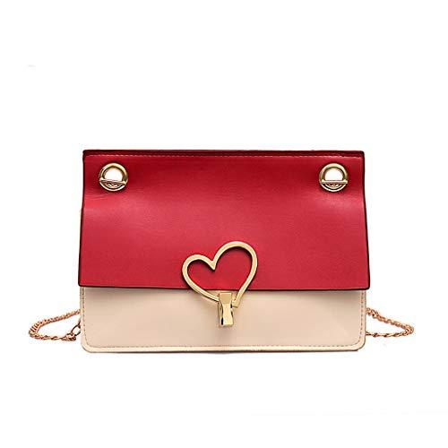 XZDCDJ UmhängeTaschen Damen Frauen lieben Lock Buckle Messenger Bag Einfache Mode Small Square Bag Rot