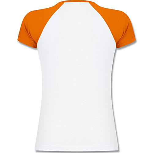 Shirtracer Evolution - Handballtorwart Evolution - Zweifarbiges Baseballshirt/Raglan T-Shirt für Damen Weiß/Orange