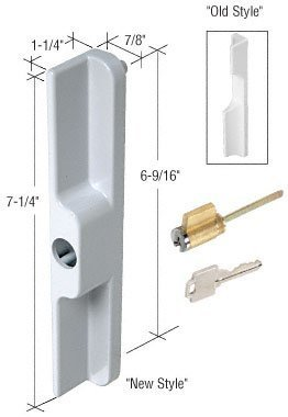 Sliding Glass Patio Door Outside Pull with Key Cylinder, White by C.R. Laurence (English Manual)
