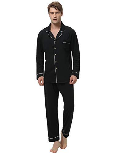 Aibrou Herren Baumwolle Pyjama Set, Einfarbiger Zweiteiliger Schlafanzug Langarm Shirt und Pyjamahose Schwarz S