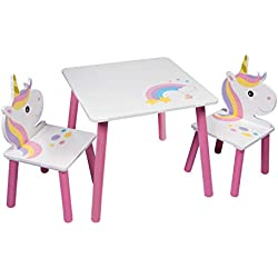 Global Industry 47798-S Lot de Table + 2 Chaises, MDF, Blanc/Rose, Taille Unique