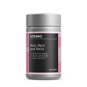 Amazon-Marke: Solimo Haare, Haut und Nägel Nahrungsergänzungsmittel mit Multivitaminen, Mineralstoffen, Cystein und Traubenkernextrakt, 120 Tabletten