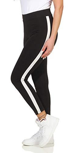 Cleostyle Damen Leggings Hose Streifen Jeggins Schwarze Fitness Pants 67 (L/XL, Schwarz)
