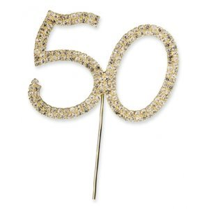 Diamante 50th Pick by EFS Pink Floral Gold Trim