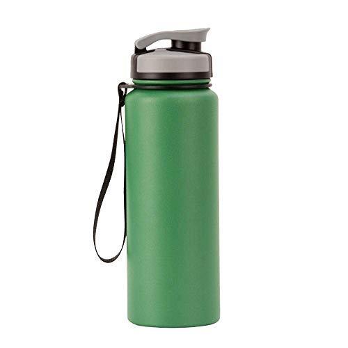 Cxjff Flaschen Sport Cup-304 Edelstahl tragbare Becher, for Joggen geeignet, Fitness, Yoga, Radfahren, dicht, langlebig 500ml, vakuumisolierte Wasserflasche (Color : Green)