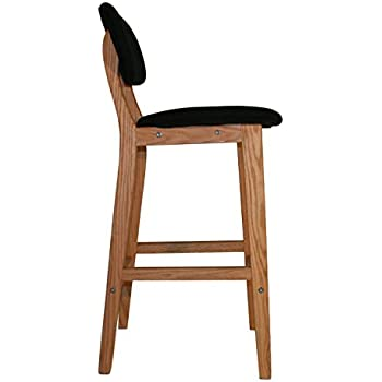 tabouret de bar en bois style scandinave assise pu avec dossier et repose pieds vals. Black Bedroom Furniture Sets. Home Design Ideas