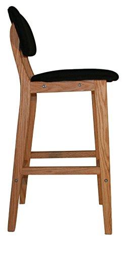 Tabouret de bar en bois style scandinave - assise PU - avec dossier et repose-pieds – VALS