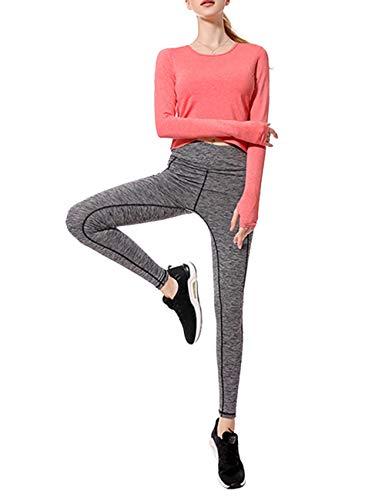 TAAMBAB Langärmliges Leichtes Yoga Oberteil Ultra Elastische Power Hose Hoher Taille Gamaschen Damen Turnhalle Kleidung Workout Skinny Suit Set für Running Gym Fitness