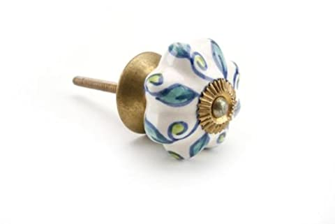 New Vintage Ceramic Blue & White Leaves Floral Petal Collar Cabinet Handle Drawer Pull Door Knob by Container Group