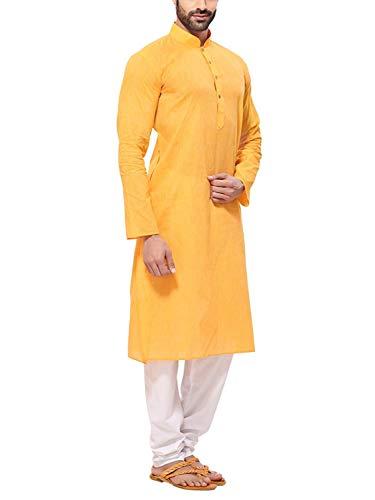 Himashu Handlooms Men's Cotton Long Kurta (Yellow_42)