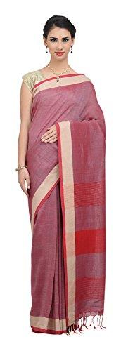 The Weave Traveller Handloom Linen By Cotton Hand Woven Saree (Pink)