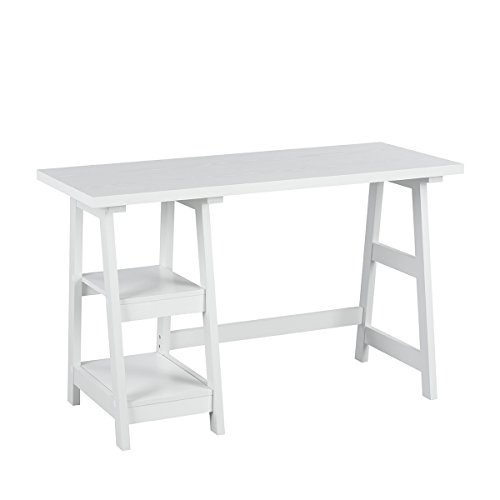 Innovareds, elegante e semplice scrivania salvaspazio, console perfetta per la casa, lo studio, l'ufficio, il soggiorno, il corridoio, dotata di mensole laterali, colore: bianco