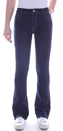 Bootcut Weites Bein Jeans (Damen Hochschnitt High Waist Bootcut Jeans Weites Bein blau Damen-Hose-n Damen-Schlag-Jeans Bootcutjeans Schlag-Hose-n Stretchjeans Stretch-Hose-n Schnitt Hoch-er-Bund blaue Size Gr Größe S 36)