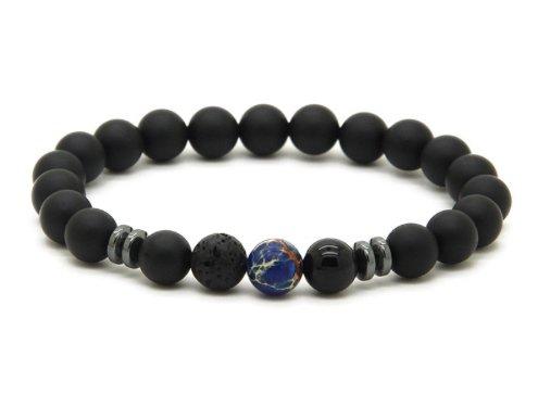 GOOD.designs Chakra Perlen-Armband aus Onyx-Lava-Natursteinen, Weltkugel aus Jaspissteinen (Blau Marmoriert)