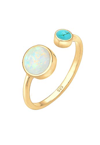 Elli Ring Damen Geo Opal Howlith Boho Offen Verstellbar in 925 Sterling Silber