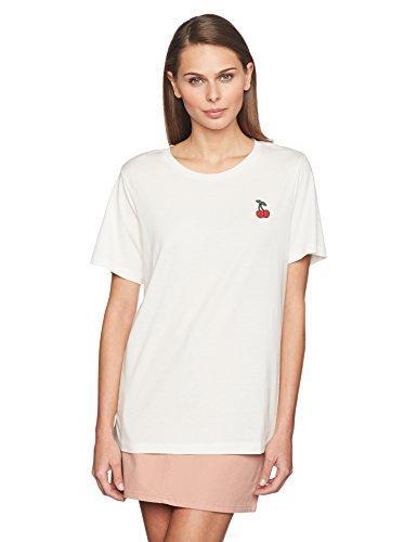 VERO MODA Damen T-Shirt Vmannie Cherry SS Top D2-5, Weiß (Snow White Detail:Cherry Badge), 36 (Herstellergröße: S) (Shirt Cherry Damen)