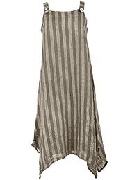 TEXTURE Ladies Womens Italian Lagenlook Stripe Pinafore Linen Asymmetric Hanky Midi Dress One Size
