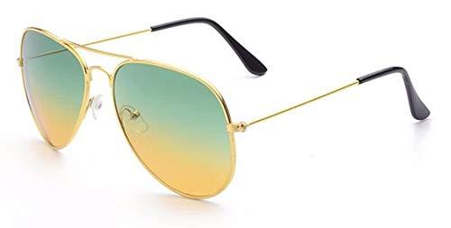 WSKPE Sonnenbrille Aviation Sonnenbrille Frauen Männer Gradient Objektiv Treibende Brillen Gold Frame Grün + Gelbe Linse