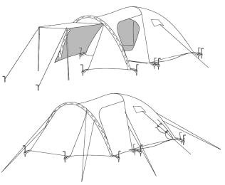 CampFeuer - Iglu-Zelt Kuppelzelt mit Vorbau, 3-4 Personen, Khaki / Dunkel-Grün -