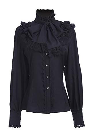 Women's Chiffon Victorian Blouse Vintage Lolita Shirt Top