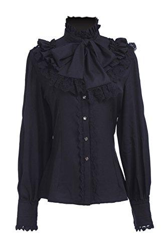 Nuoqi® Sweet Lolita Prinzessin Shirt Vintage Chiffon Shirt Langarm Spleißen Lace Bow Cosplay Kostüm Schwarz CC374A-L-NI (L, black) (Viktorianischen Tag Kostüme)