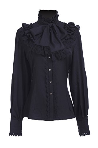 Nuoqi® Sweet Lolita Prinzessin Shirt Vintage Chiffon Shirt Langarm Spleißen Lace Bow Cosplay Kostüm Schwarz CC374A-L-NI (L, black)