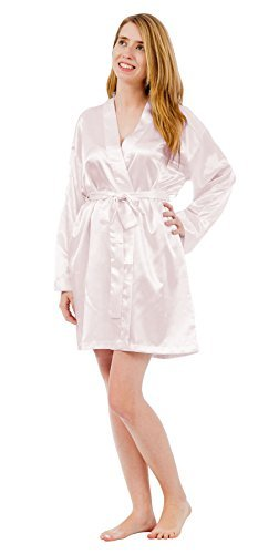 Fashion Up2date Damen Satin Charmeuse Bademantel Style #Gwn-11 - Weiß - 2X Mehr
