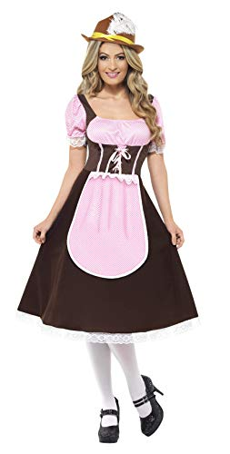 Taverne Kostüm - Smiffys, Damen Tavernen Mädel Kostüm, Langes Kleid mit angesetzter Schürze, Größe: X1, 20610