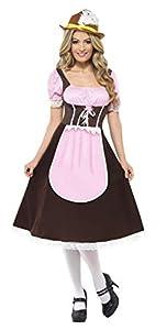 Smiffys-20610L Bavaroise Disfraz de tabernera, Vestido Largo con Delantal acoplado, Color marrón, L-EU Tamaño 44-46 (Smiffy