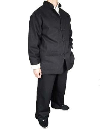 handgemachte schwarzer kung fu tai chi premiumleinen anzug. Black Bedroom Furniture Sets. Home Design Ideas