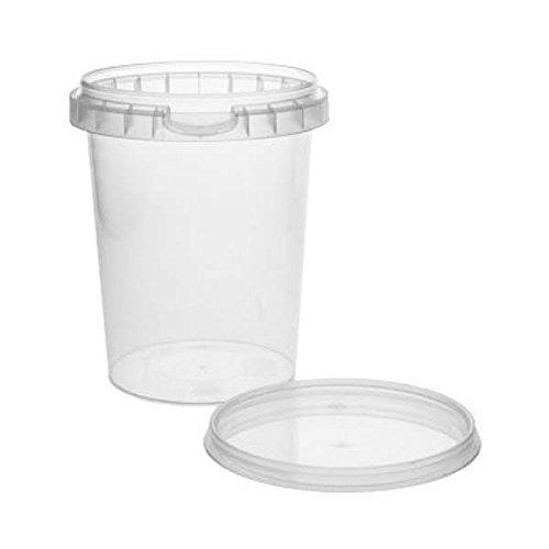 10 x Kunststoffdose Plastikbecher mit Deckel 520 ml, BPA-frei, lebensmittelecht inkl. 1 Schaufel