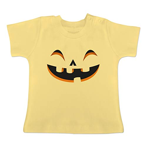 Karneval und Fasching Baby - Kürbisgesicht Kostüm - 1-3 Monate - Hellgelb - BZ02 - Baby T-Shirt Kurzarm