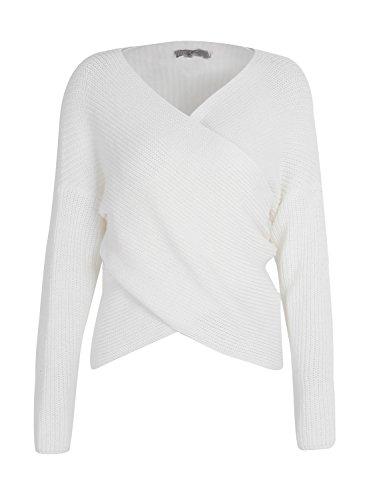 Simplee Apparel Damen Sweater Winter Herbst Sexy Kreuz V-Ausschnitt Oversize Strickpullover Oberteile Weiß (Kreuz Winter-willkommen)