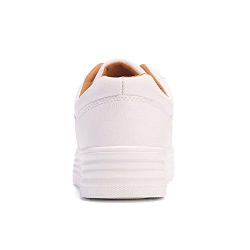Femme Plateforme Chaussures à Lacets Pompes Creepers Baskets Talon 3CM Blanc Noir Gris Blanc