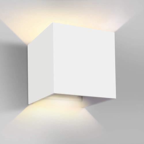 Ghb 12w lampade da parete per esterno applicabile alla parete impermeabile lampada muro in alluminio angolo regolabile ip65 - bianco