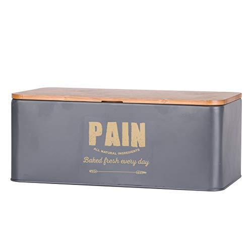 Boîte à pain avec couvercle en bambou - L 33 x l 18 x H 13,5 cm
