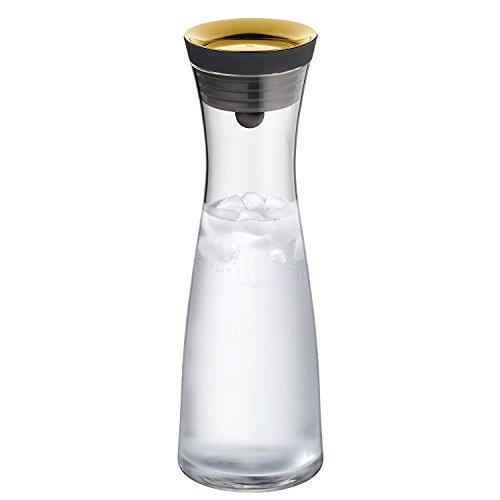 WMF Basic Wasserkaraffe, 1,0l, Höhe 29 cm, Glas-Karaffe, Silikondeckel, CloseUp-Verschluss, gold